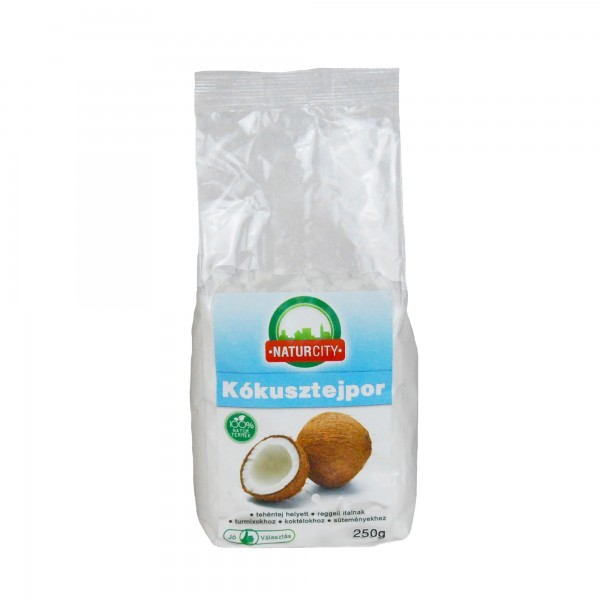 Lapte praf din cocos Naturcity 250gr Laptele de cocos este aportul necesar de fier și potasiu. Se obține ușor, prin procesarea miezului de cocos și se recomandă utilizarea sa în piureuri, băuturi pentru micul dejun sau supe.